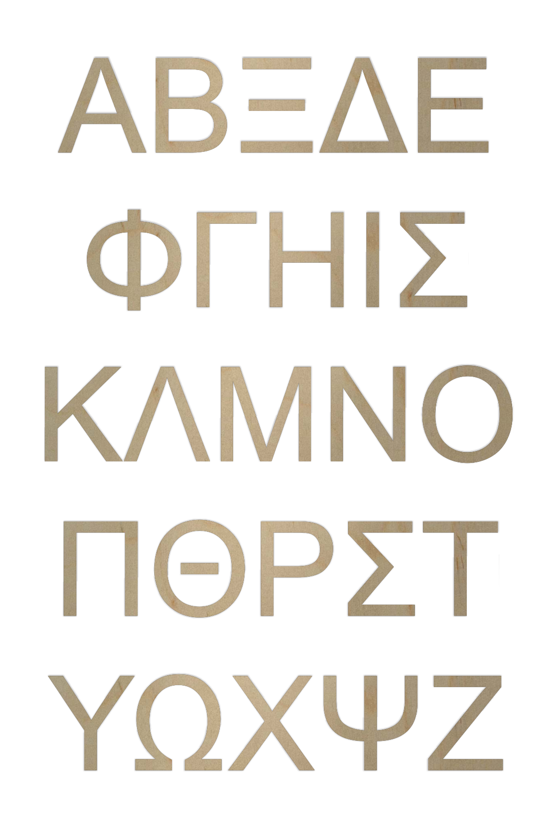 wooden greek letters arial font by woodenletterscom